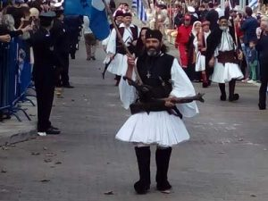 Traditional costums are worn during the parade in Pylos
