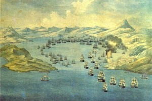 old print of the bay area during the battle of navarino