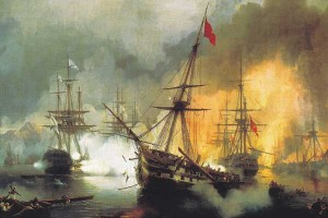 many sailing ships went done during the battle of Navarino