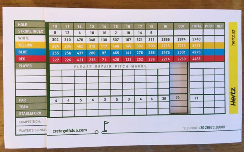 Back Nine score Card Crete Golf Course