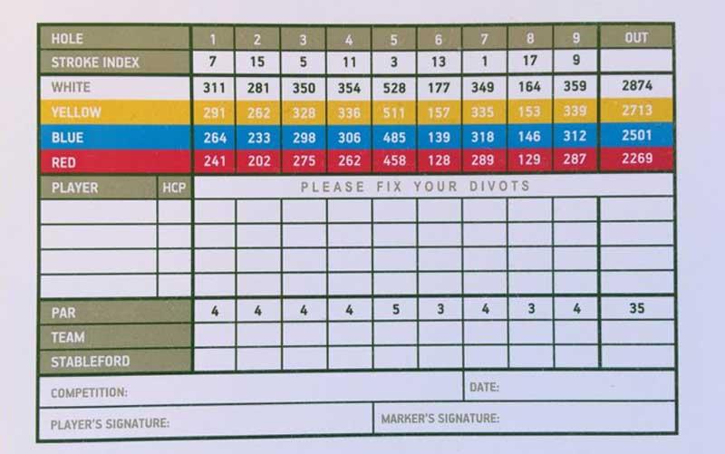 Front Nine score card Crete Golf Course