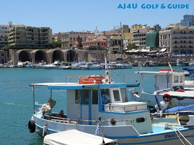 view over the pictoresque harbour during city walk Heraklion